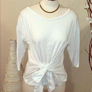 Express white tee shirt tie waist